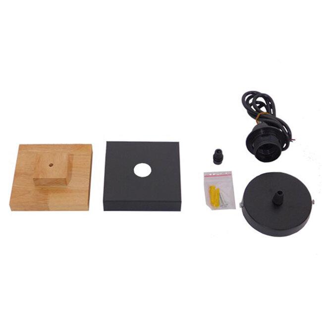 Μοντέρνο Κρεμαστό Φωτιστικό Οροφής Μονόφωτο Μαύρο Μεταλλικό με Φυσικό Ξύλο Καμπάνα Φ18 GloboStar LAOTH 01234 - 7