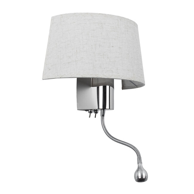 ELEGANT 01493 Μοντέρνο Φωτιστικό Τοίχου Απλίκα Δίφωτο Μεταλλικό με Λευκό Ύφασμα και Βραχίονα με LED Μ26.5 x Π15 x Υ43cm - 2