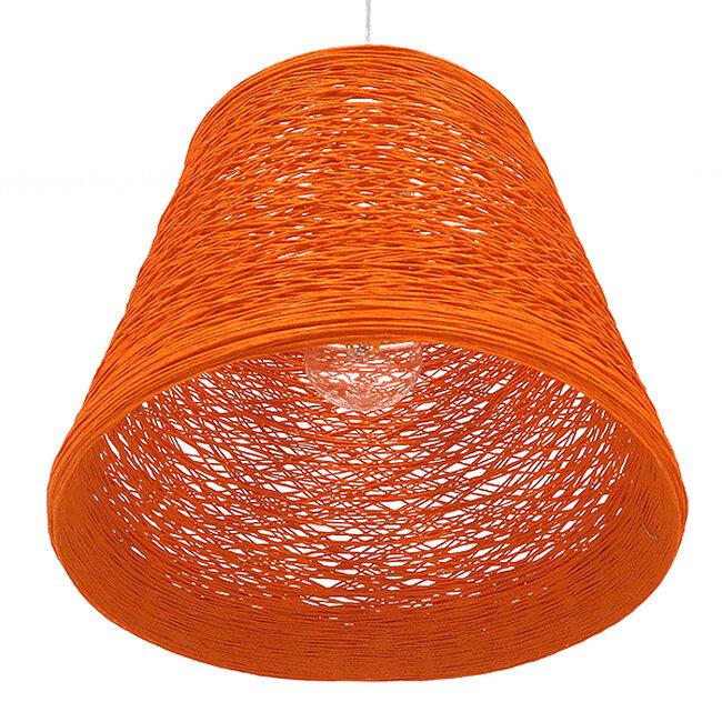 Vintage Κρεμαστό Φωτιστικό Οροφής Μονόφωτο Πορτοκαλί Ξύλινο Ψάθινο Rattan Φ32  ARGENT ORANGE 00997 - 5