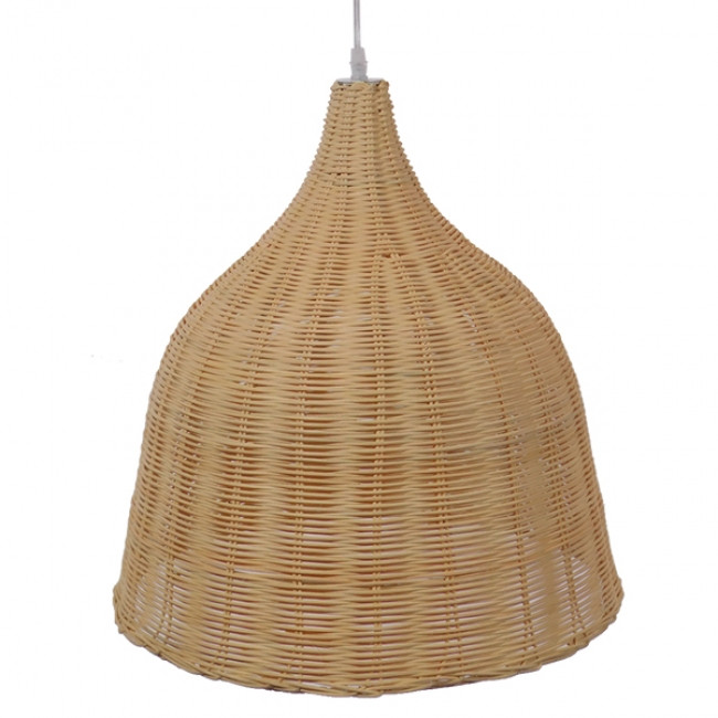 Vintage Κρεμαστό Φωτιστικό Οροφής Μονόφωτο Μπεζ Ξύλινο Ψάθινο Rattan Φ45  NATH 01203 - 4