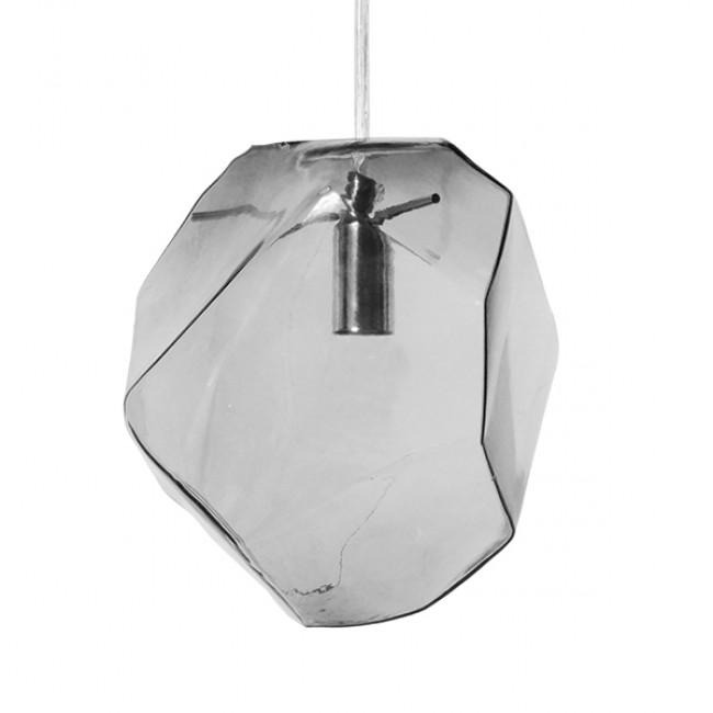 Μοντέρνο Κρεμαστό Φωτιστικό Οροφής Μονόφωτο Γυάλινο Γκρι Διάφανο GloboStar DIADEMA 01307 - 3