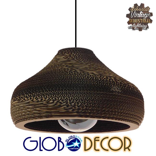 Vintage Κρεμαστό Φωτιστικό Οροφής Μονόφωτο 3D από Επεξεργασμένο Σκληρό Καφέ Χαρτόνι Καμπάνα Φ35  MILOS 01291 - 1