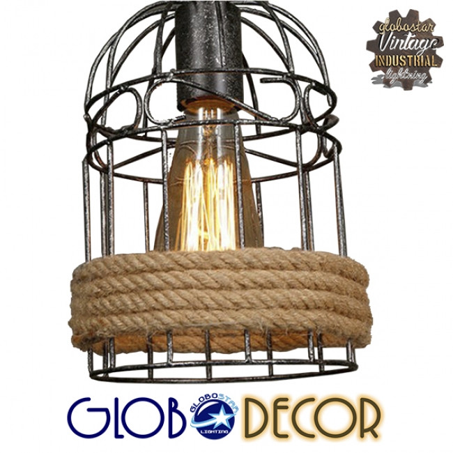 Vintage Κρεμαστό Φωτιστικό Οροφής Τρίφωτο Καφέ Ξύλινο Bamboo με Μπεζ Σχοινί  LILO 01149 - 5