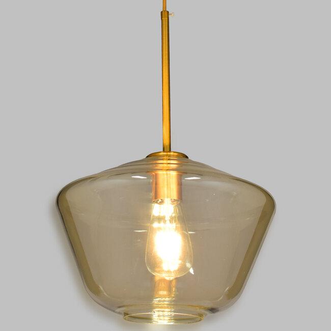 GloboStar® AMARIS 00870 Μοντέρνο Κρεμαστό Φωτιστικό Οροφής Μονόφωτο Γυάλινο Φιμέ Μελί Φ30 x 22CM - 2