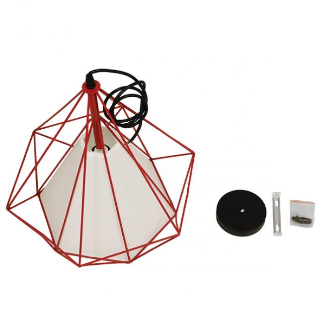 Μοντέρνο Industrial Κρεμαστό Φωτιστικό Οροφής Μονόφωτο Κόκκινο με Άσπρο Ύφασμα Μεταλλικό Πλέγμα Φ38 GloboStar KAIRI RED 01620 - 8