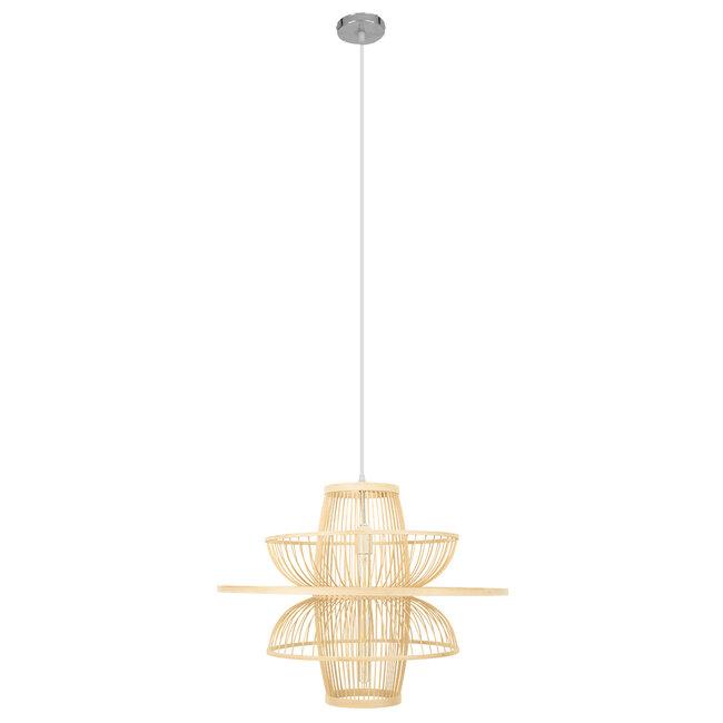 BALI 00862 Vintage Κρεμαστό Φωτιστικό Οροφής Μονόφωτο Μπεζ Ξύλινο Bamboo Φ60 x Y45cm - 4