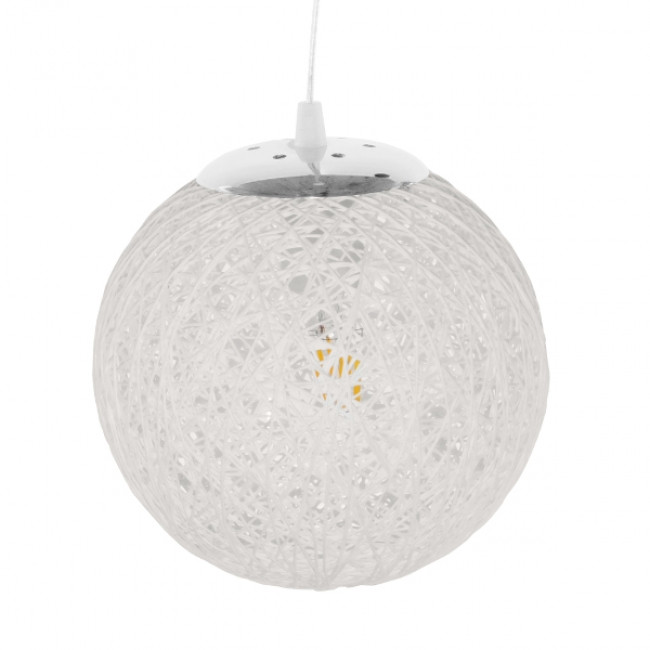 Vintage Κρεμαστό Φωτιστικό Οροφής Μονόφωτο Λευκό Ξύλινο Ψάθινο Rattan Φ20  ICEBERG 01355 - 3