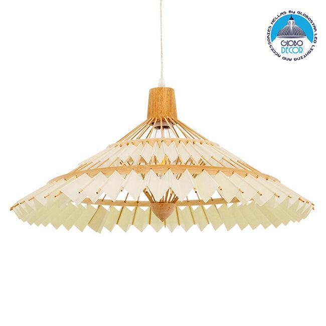 Vintage Κρεμαστό Φωτιστικό Οροφής Μονόφωτο Καφέ Ξύλινο Bamboo Ø60xY30cm  VENTALIA Ø60xY30cm 00896 - 1