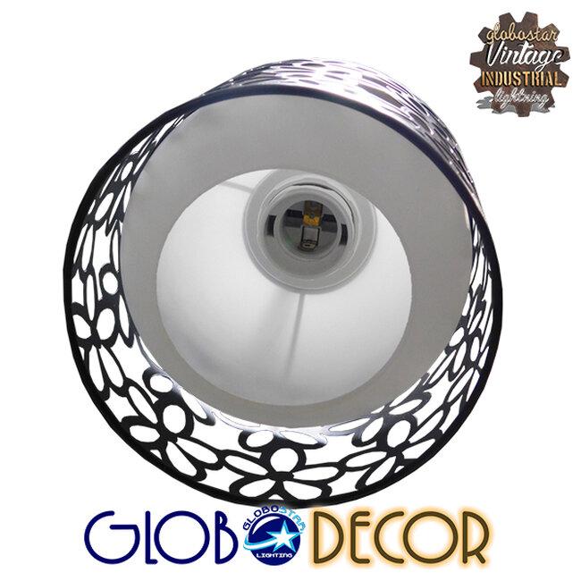 Μοντέρνο Κρεμαστό Φωτιστικό Οροφής Τρίφωτο Μαύρο Μεταλλικό Πλέγμα με Λευκό Γυαλί Φ40 GloboStar RAINELDA 01246 - 7