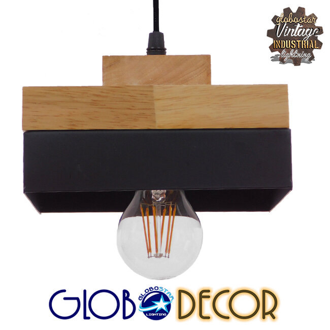 Μοντέρνο Κρεμαστό Φωτιστικό Οροφής Μονόφωτο Μαύρο Μεταλλικό με Φυσικό Ξύλο Καμπάνα Φ18 GloboStar LAOTH 01234 - 1