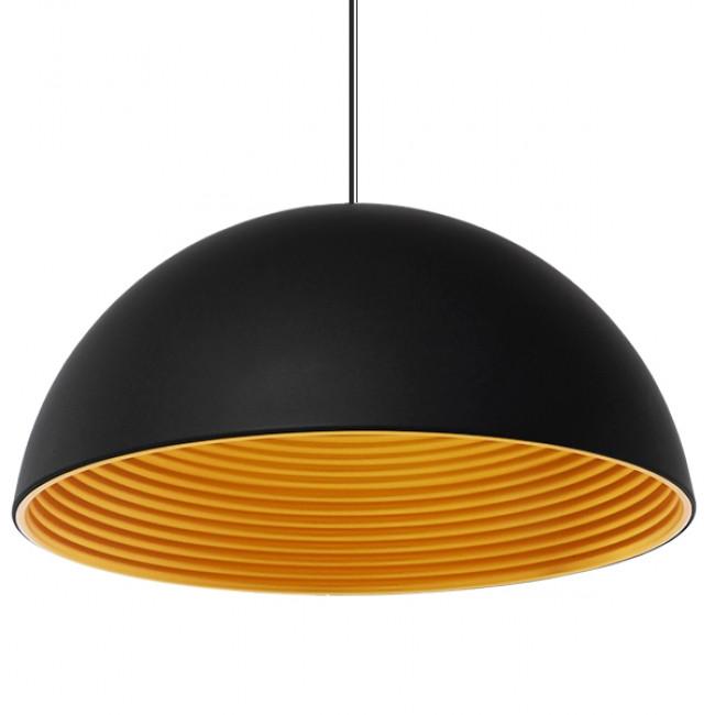 Μοντέρνο Κρεμαστό Φωτιστικό Οροφής Μονόφωτο Μαύρο Χρυσό Μεταλλικό Καμπάνα Φ60 GloboStar MEDEA 01344 - 1