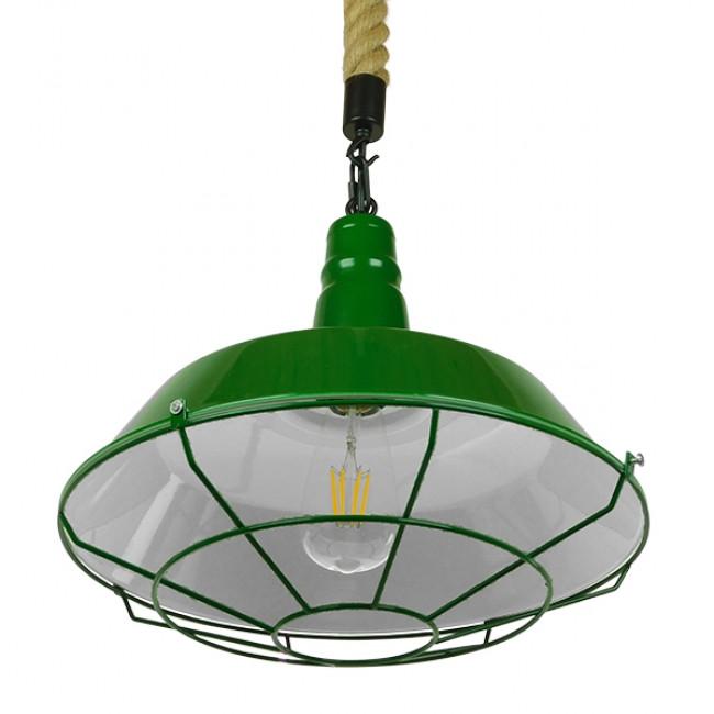 Vintage Industrial Κρεμαστό Φωτιστικό Οροφής Μονόφωτο Πράσινο Λευκό Μεταλλικό Καμπάνα Πλέγμα με Μπεζ Σχοινί Φ36 GloboStar ELEDA 01408 - 4