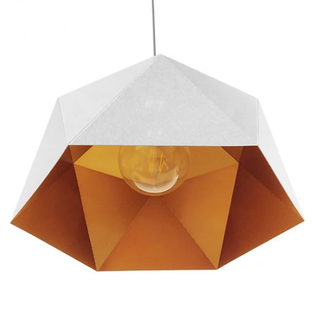 Μοντέρνο Κρεμαστό Φωτιστικό Οροφής Μονόφωτο Λευκό Χρυσό Μεταλλικό Καμπάνα Φ46 GloboStar CHILUM 01378 - 6
