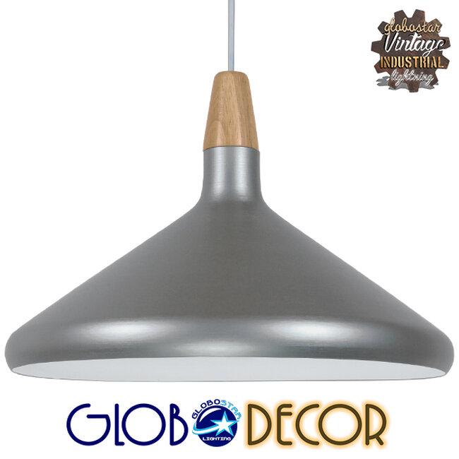 Μοντέρνο Κρεμαστό Φωτιστικό Οροφής Μονόφωτο Ασημί Μεταλλικό Καμπάνα Φ39  FELICITA 01276 - 1