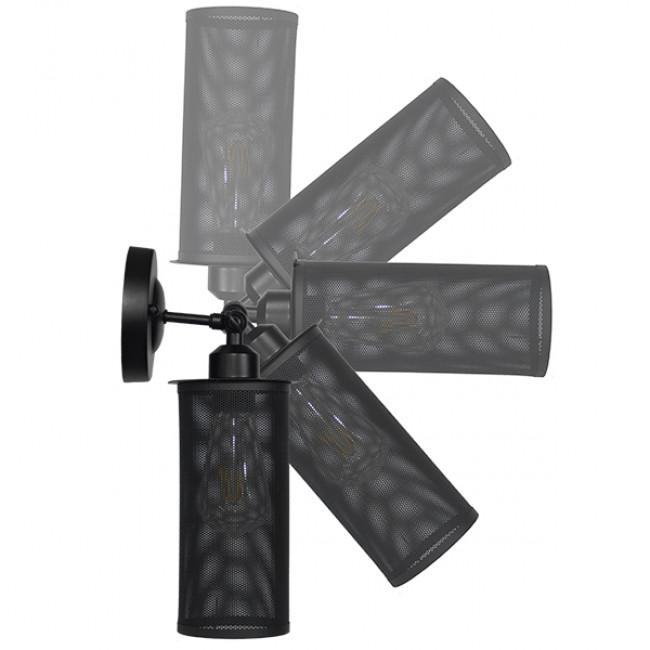 Vintage Industrial Φωτιστικό Τοίχου Απλίκα Μονόφωτο Μαύρο Μεταλλικό Πλέγμα Φ10 GloboStar HOLVIA 01160 - 10