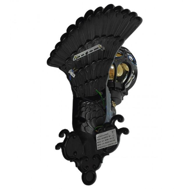 Vintage Φωτιστικό Τοίχου Απλίκα Μονόφωτο Μαύρο Μεταλλικό Πλέγμα με Γυαλί GloboStar CORNELIA 01250 - 12