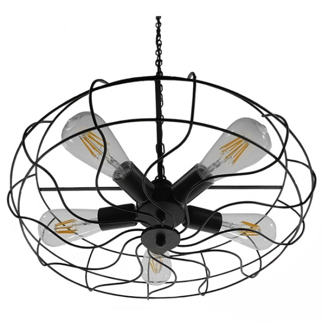 Vintage Industrial Κρεμαστό Φωτιστικό Οροφής Πολύφωτο Μαύρο Μεταλλικό Πλέγμα Φ46  HELIX 01164 - 4