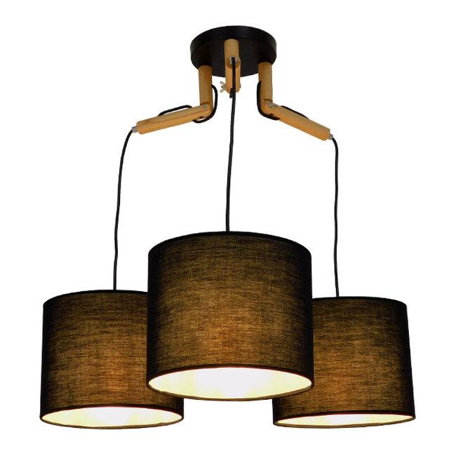 Μοντέρνο Κρεμαστό Φωτιστικό Οροφής Τρίφωτο Μαύρο με Ξύλο και Υφασμάτινα Καπελα Φ67  RAMSON BLACK 01525 - 2