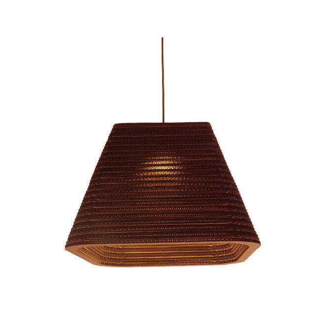 Vintage Κρεμαστό Φωτιστικό Οροφής Μονόφωτο 3D από Επεξεργασμένο Σκληρό Καφέ Χαρτόνι Καμπάνα Φ38  CORFU 01295 - 9