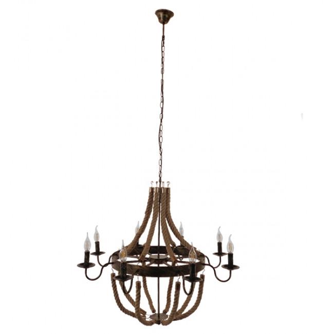 Vintage Κρεμαστό Φωτιστικό Οροφής Πολύφωτο Μπρούτζινο Σκουριά Μεταλλικό Πολυέλαιος με Μπεζ Σχοινί Φ87  BAVARIAN 01405 - 2