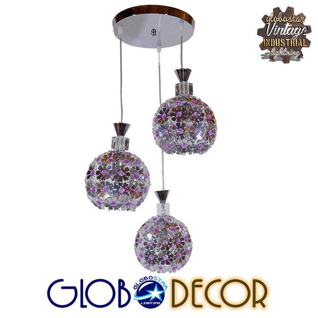 Μοντέρνο Κρεμαστό Φωτιστικό Οροφής Τρίφωτο Ασημί Μεταλλικό με Κρύσταλλα Φ50  BOUQUET 01248 - 1