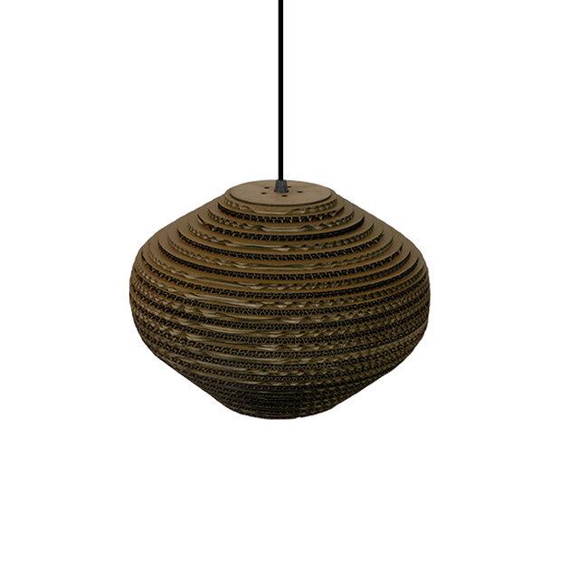 Vintage Κρεμαστό Φωτιστικό Οροφής Μονόφωτο 3D από Επεξεργασμένο Σκληρό Καφέ Χαρτόνι Καμπάνα Φ30 GloboStar ZAKYNTHOS 01293 - 5