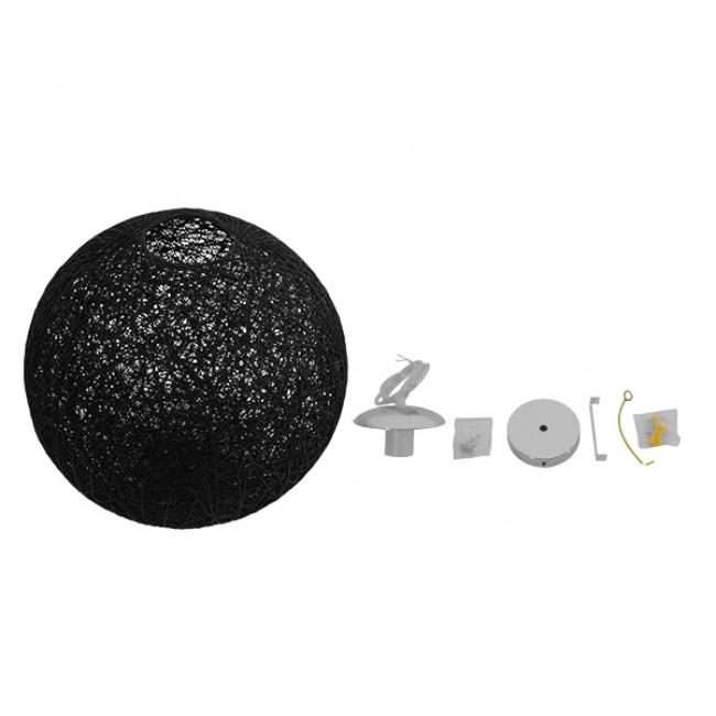 Vintage Κρεμαστό Φωτιστικό Οροφής Μονόφωτο Μαύρο Ξύλινο Ψάθινο Rattan Φ40 GloboStar CALLE 01360 - 5