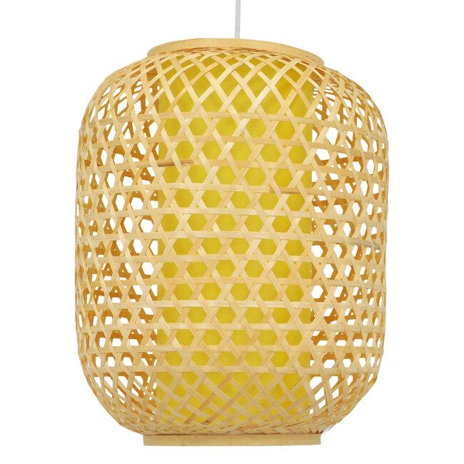 Vintage Κρεμαστό Φωτιστικό Οροφής Μονόφωτο Καφέ Ξύλινο Bamboo Φ30  MAURITIUS Φ30 00899 - 5