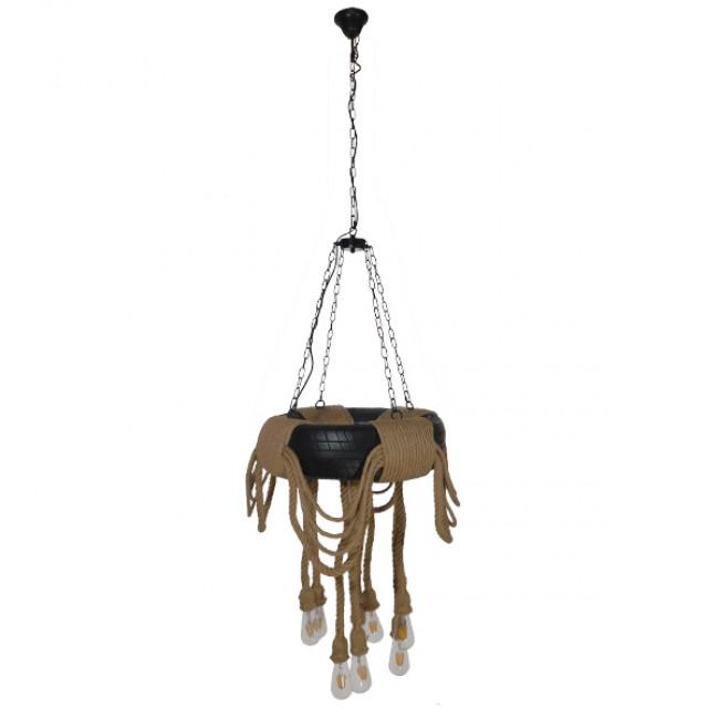 Vintage Industrial Κρεμαστό Φωτιστικό Οροφής Πολύφωτο Μαύρο με Μπεζ Σχοινι Φ60 GloboStar MARBELLA 01116 - 2