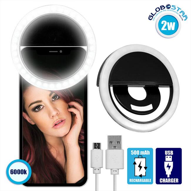 Selfie Ring Light LED SMD 2W 200 lm Μαύρο Σώμα με Ενσωματωμένη Επαναφορτιζόμενη Μπαταρία 500mAh & Καλώδιο Φόρτισης Micro USB Ψυχρό Λευκό 6000 K για Κινητό Τηλέφωνο και Tablet 79043