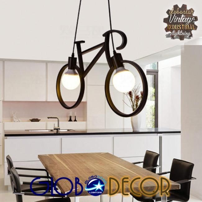 Vintage Κρεμαστό Φωτιστικό Οροφής Δίφωτο Μαύρο Μεταλλικό GloboStar BIKE 01213 - 2