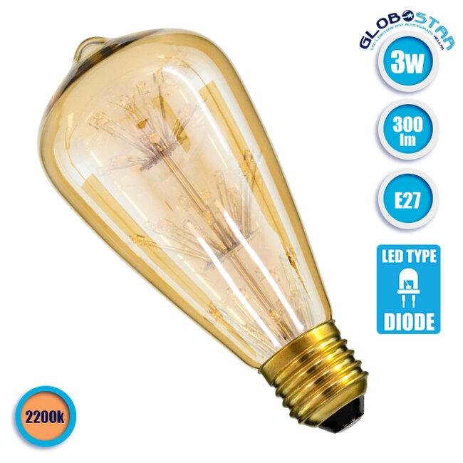 Λάμπα E27 ST64 MTX Pear DIODE HP LED String 3W 300 lm 320° AC 85-265V Edison Retro με Μελί Γυαλί Ultra Θερμό Λευκό 2200 K GloboStar 99202