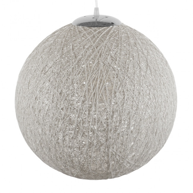 Vintage Κρεμαστό Φωτιστικό Οροφής Μονόφωτο Λευκό Ξύλινο Ψάθινο Rattan Φ40  SISO 01359 - 4