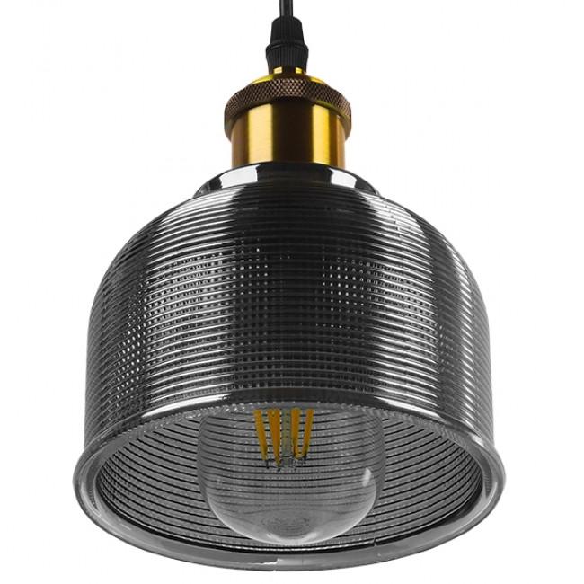 Vintage Κρεμαστό Φωτιστικό Οροφής Μονόφωτο Μαύρο Γυάλινο Διάφανο Καμπάνα με Χρυσό Ντουί Φ14 GloboStar SEGRETO BLACK 01449 - 5
