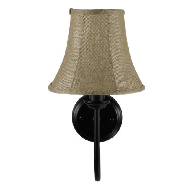 Vintage Φωτιστικό Τοίχου Απλίκα Μονόφωτο Μαύρο Μεταλλικό με Υφασμάτινο Μπεζ Καπέλο Φ20  SHELLY 01299 - 5