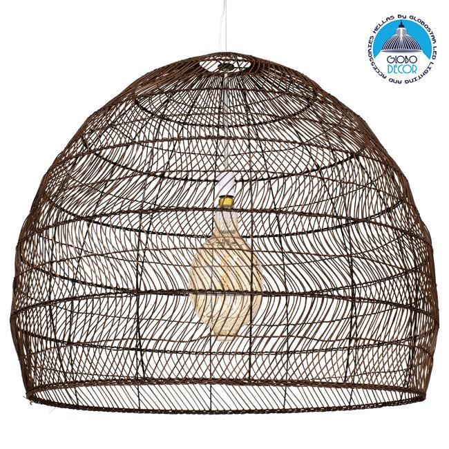 GloboStar® MALIBU 00967 Vintage Κρεμαστό Φωτιστικό Οροφής Μονόφωτο Λευκό Ξύλινο Bamboo Φ97 x Y86cm - 1