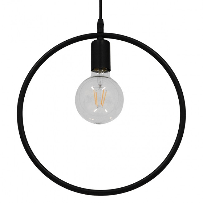 Μοντέρνο Κρεμαστό Φωτιστικό Οροφής Μονόφωτο Μαύρο Μεταλλικό Φ33 GloboStar OMICRON BLACK 01578 - 3