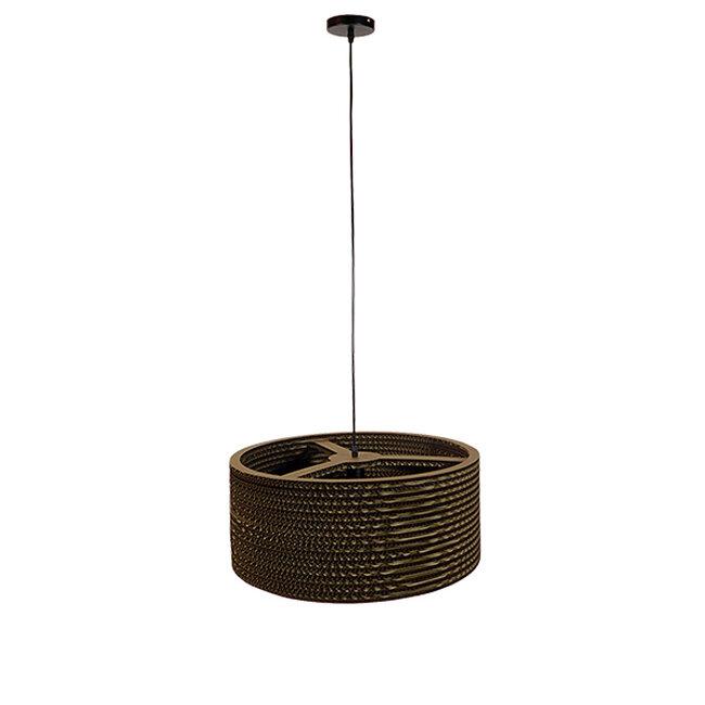 Vintage Κρεμαστό Φωτιστικό Οροφής Μονόφωτο 3D από Επεξεργασμένο Σκληρό Καφέ Χαρτόνι Καμπάνα Φ50  SKOPELOS 01297 - 2