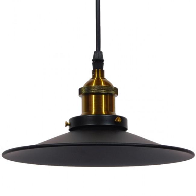 Vintage Industrial Κρεμαστό Φωτιστικό Οροφής Μονόφωτο Μαύρο Μεταλλικό Καμπάνα Φ22 GloboStar CARAVEL 01167 - 3