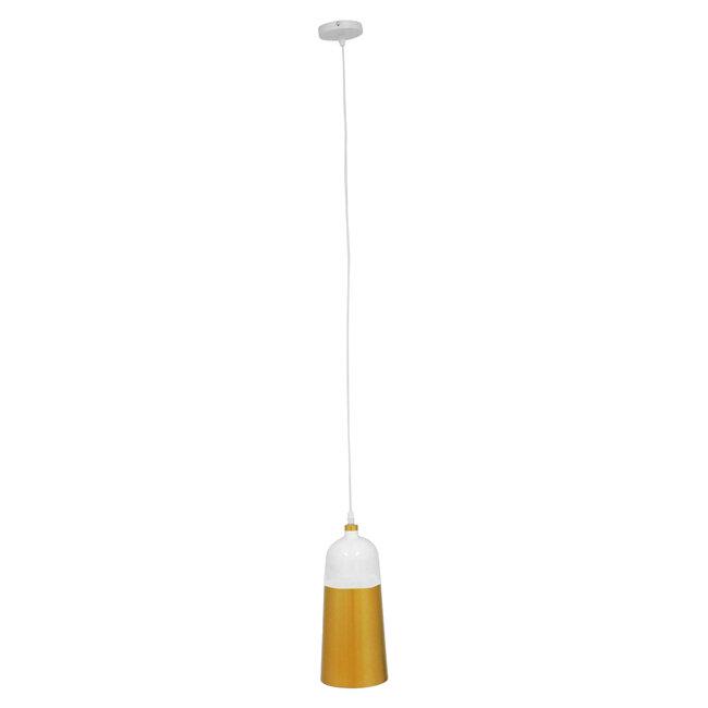 Μοντέρνο Κρεμαστό Φωτιστικό Οροφής Μονόφωτο Λευκό - Χρυσό Μεταλλικό Καμπάνα Φ14  PALAZZO GOLD WHITE 01524 - 4