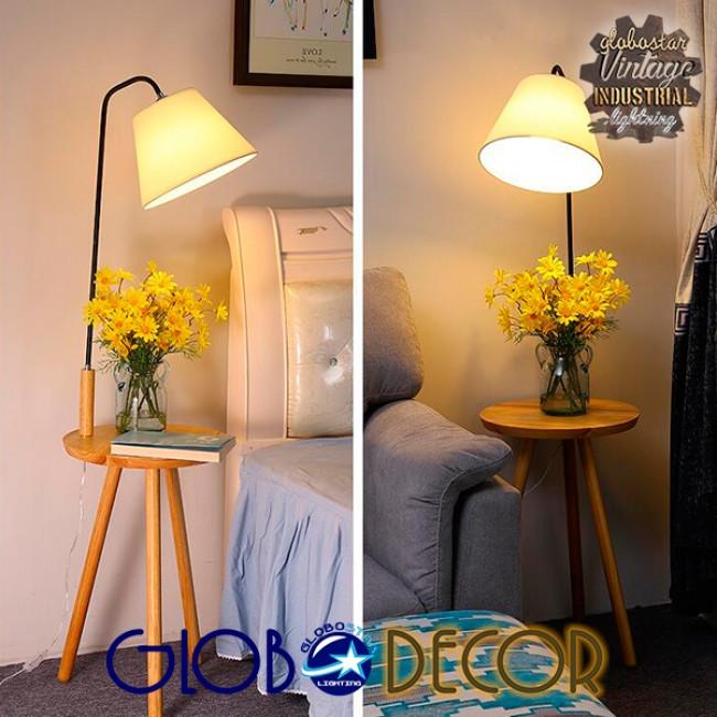 Μοντέρνο Φωτιστικό Δαπέδου Μονόφωτο Ξύλινο με Μπεζ Καπέλο και Μαύρο Μεταλλικό Βραχίονα Φ28 GloboStar TIFFANY 01206 - 7