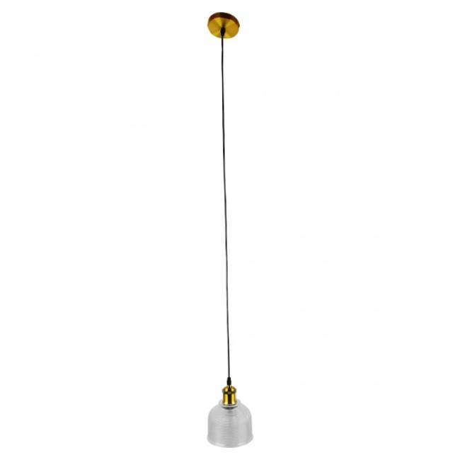 Vintage Κρεμαστό Φωτιστικό Οροφής Μονόφωτο Γυάλινο Διάφανο Καμπάνα με Χρυσό Ντουί Φ14 GloboStar SEGRETO TRANSPARENT 01447 - 2