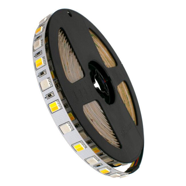 GloboStar® 70266 Ταινία LED SMD 5050 RGBW + WW 5in1 5m 18W/m 72LED/m 120° DC 24V IP20 1150lm/m Ψυχρό Λευκό 6000k & 1050lm/m Θερμό Λευκό 3000k & 900lm/m RGB - 2