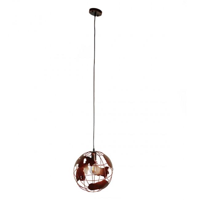 Vintage Industrial Κρεμαστό Φωτιστικό Οροφής Μονόφωτο Καφέ Σκουριά Μεταλλικό Πλέγμα Φ30 GloboStar EARTH RUST 30CM 01662 - 2