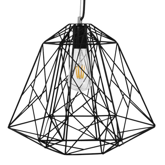 Vintage Industrial Kρεμαστό Φωτιστικό Οροφής Μονόφωτο Μαύρο Μεταλλικό Πλέγμα Φ32  GRID 01022 - 3