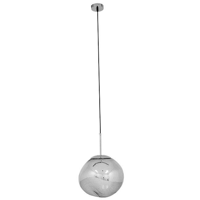 Μοντέρνο Κρεμαστό Φωτιστικό Οροφής Μονόφωτο Γυάλινο Ασημί Νίκελ Φ36  DIXXON CHROME 01464 - 3