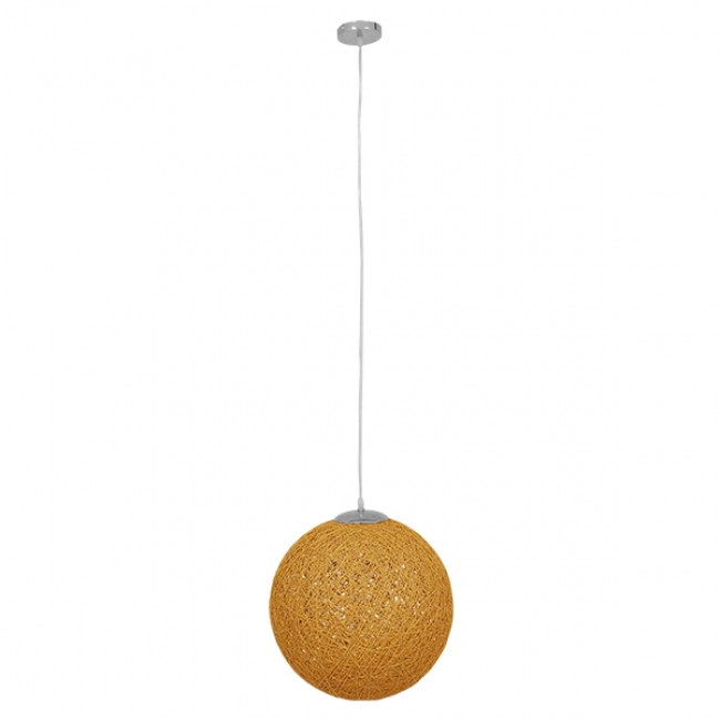 Vintage Κρεμαστό Φωτιστικό Οροφής Μονόφωτο Μπεζ Χρυσό Ξύλινο Ψάθινο Rattan Φ40 GloboStar WOTAN 01357 - 2