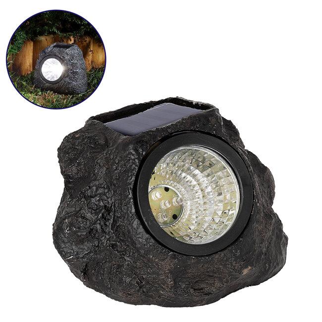 71484 Αυτόνομο Ηλιακό Φωτιστικό LED SMD 1W 100lm με Ενσωματωμένη Μπαταρία 600mAh - Φωτοβολταϊκό Πάνελ με Αισθητήρα Ημέρας-Νύχτας Αδιάβροχο IP65 Διακοσμητική Πέτρα - Βράχος Κήπου Ψυχρό Λευκό 6000K - 2