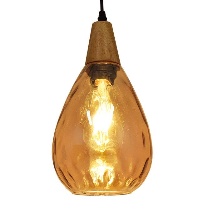 Μοντέρνο Κρεμαστό Φωτιστικό Οροφής Μονόφωτο Γυάλινο με Ξύλο Μελί Φ16  NOAH GOLD 01490 - 2
