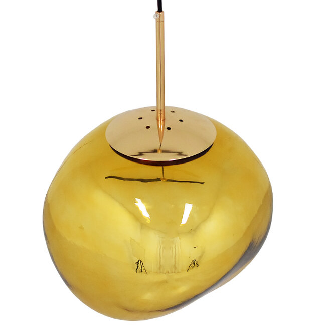 Μοντέρνο Κρεμαστό Φωτιστικό Οροφής Μονόφωτο Γυάλινο Χρυσό Φ36  DIXXON GOLD 01466 - 4